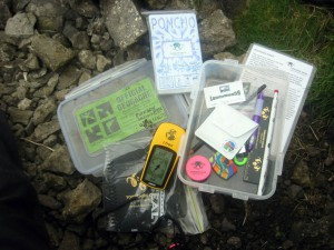The contents of the geocache at Buckden Rake